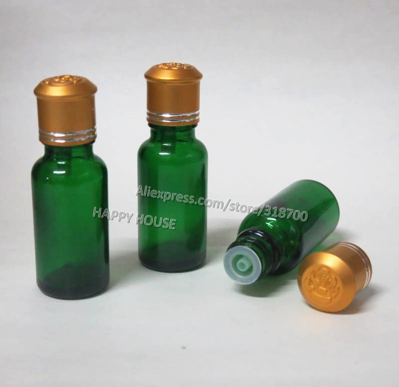 360 x 20ml Green Glass Essential Oil Bottle With Gold Lids, 20cc Empty Glass Essential Oil Container