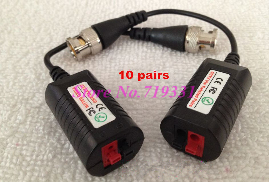 10 pairs250M HD CVI/AHD/TVI Twisted BNC CCTV Video Balun Pasif Telsiz