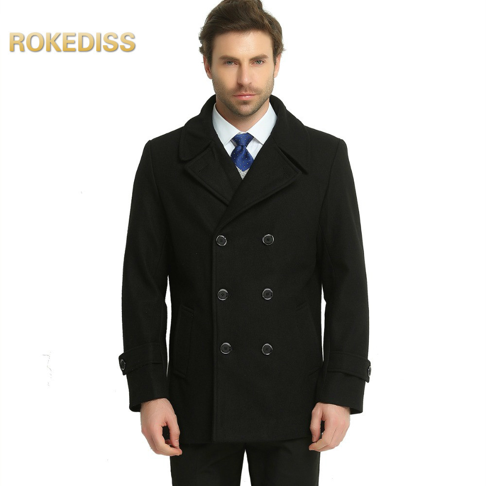 2017 Fashion Men&39;s Autumn Winter Coat Turn-down Collar Wool Blend Men Pea Coat Double Breasted Winter mens palto Overcoat