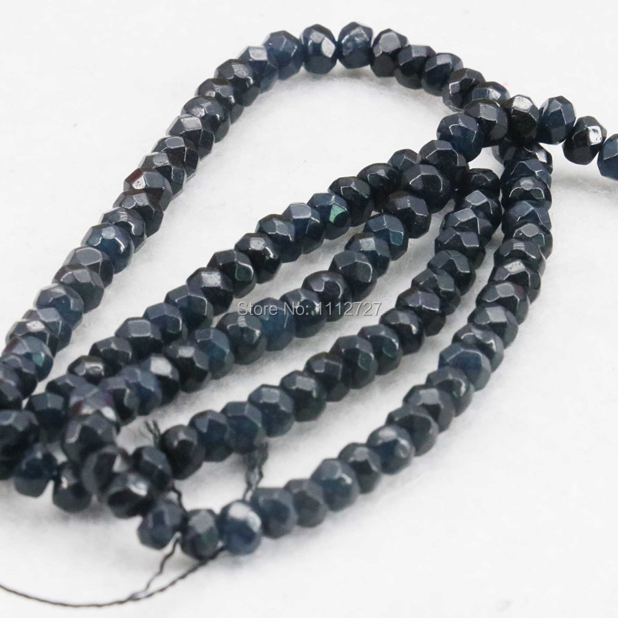 2x4mm Ornaments Faceted Black Abacus Loose Beads DIY Natural Stone For Necklace Bracelet Jewelry making Design 15inch Girl Gifts