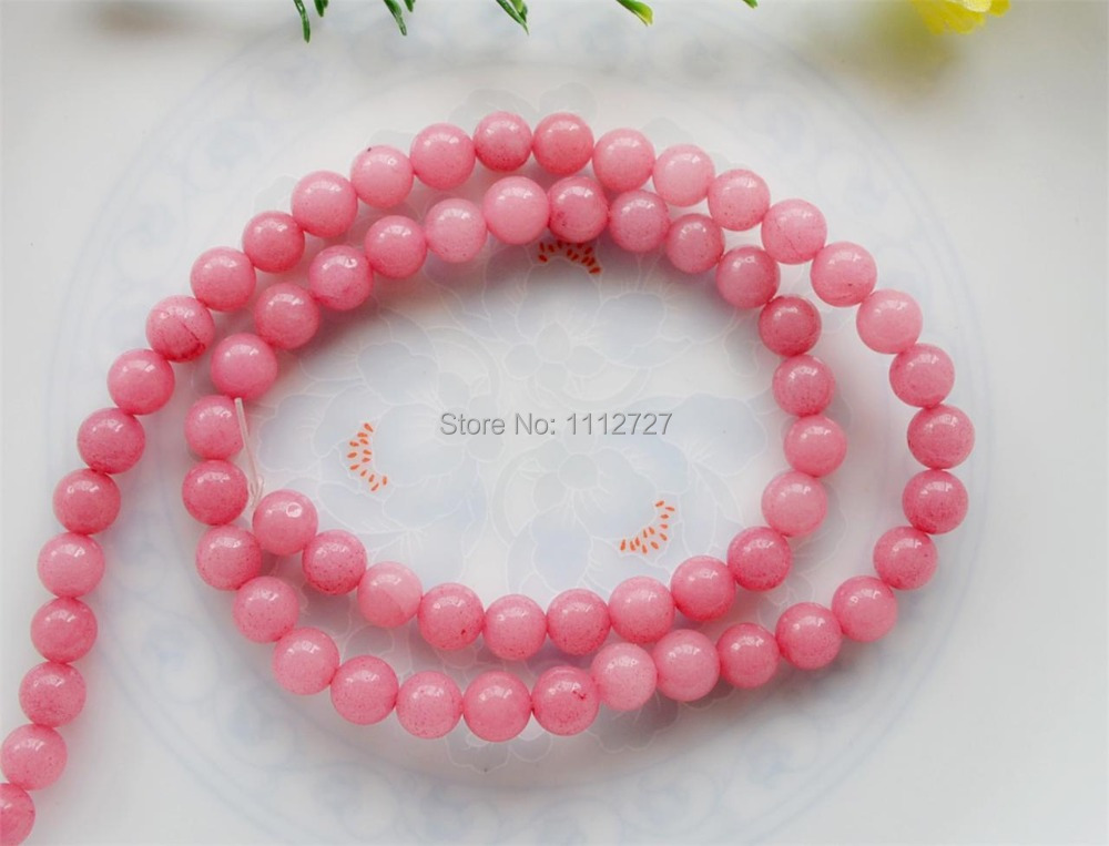 Accessory Crafts Chalcedony New Style Diy Lovely 6-12mm Pink Round Loose Jewelry 15 Wholesale Semi Finished Stones Balls Gifts