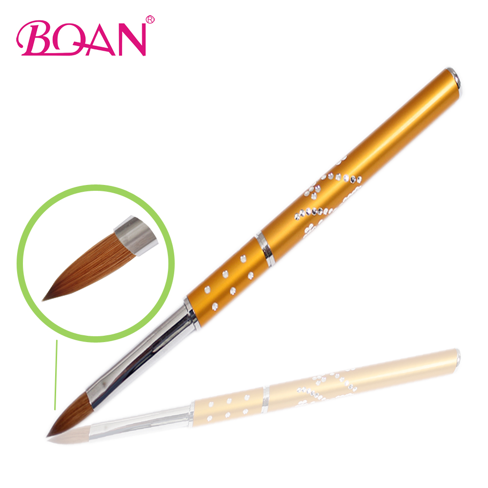 2014 Hot Sale 4 Golden Metal Acrylic Nail Brush Pure Kolinsky Brush Natural Hair 10 Pcs Free Shipping